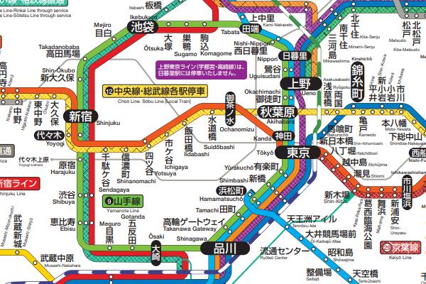 山手線と中央線路線図イメージ